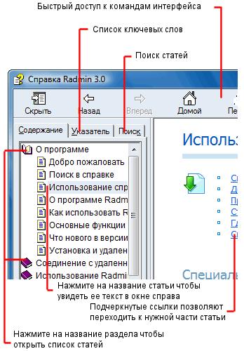 Radmin usinghelp Использование справки