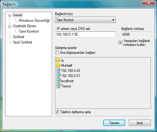 "Radmin options connectto ""Bağlan"" penceresi"