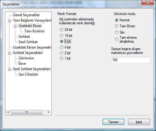 Radmin options d rscreen Uzaktaki Ekran varsayılanları