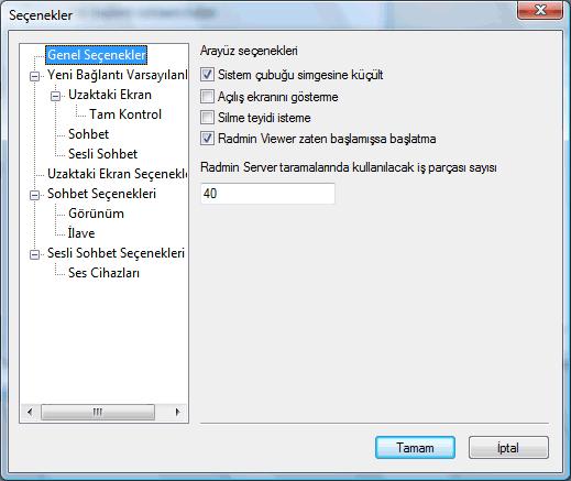 Radmin options general Genel seçenekler