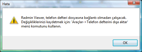 Radmin phonebookdisconnect Telefon defterini paylaşma