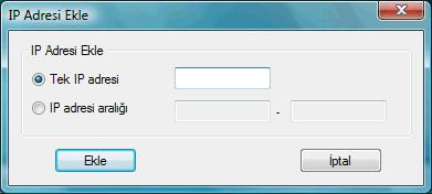 Radmin srvcfg options ipfilter add IP filtresini kurma