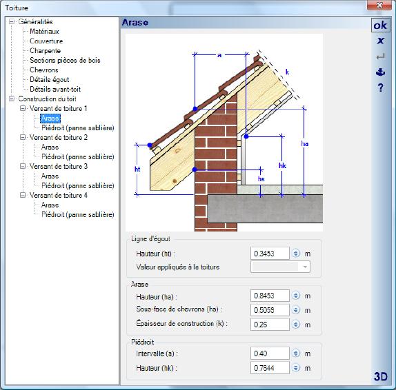 Editeur de toiture 3d cad architecture for Architecte 3d hauteur mur