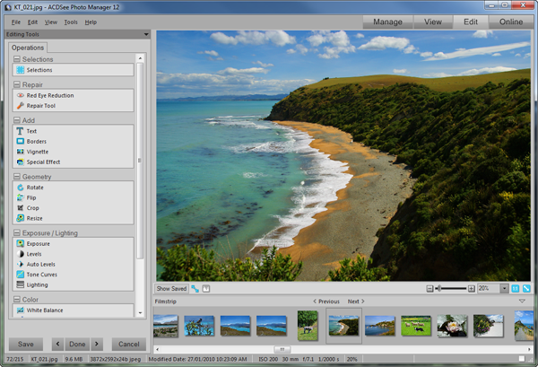 ACDSee Photo Manager SS Edit mode Std Edit mode