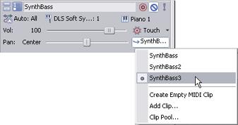 Acid Pro clipchoosermidi MIDI Track Controls