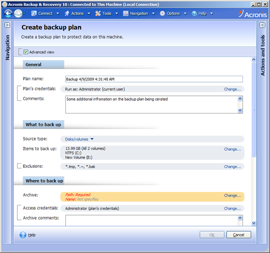 Acronis Backup & Recovery 3289 Action pages