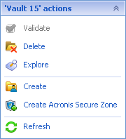 """Acronis Backup & Recovery 3300 """"Actions and tools"""" pane"""
