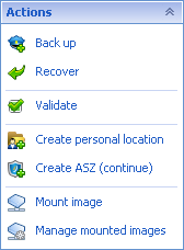"""Acronis Backup & Recovery 3302 """"Actions and tools"""" pane"""