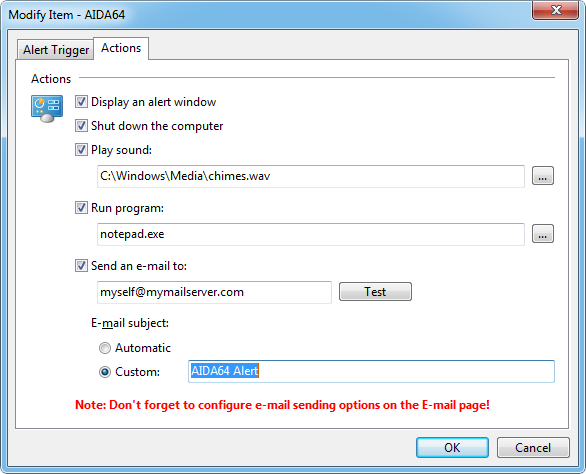 Aida64 preferences hwmalerting3 Alerting
