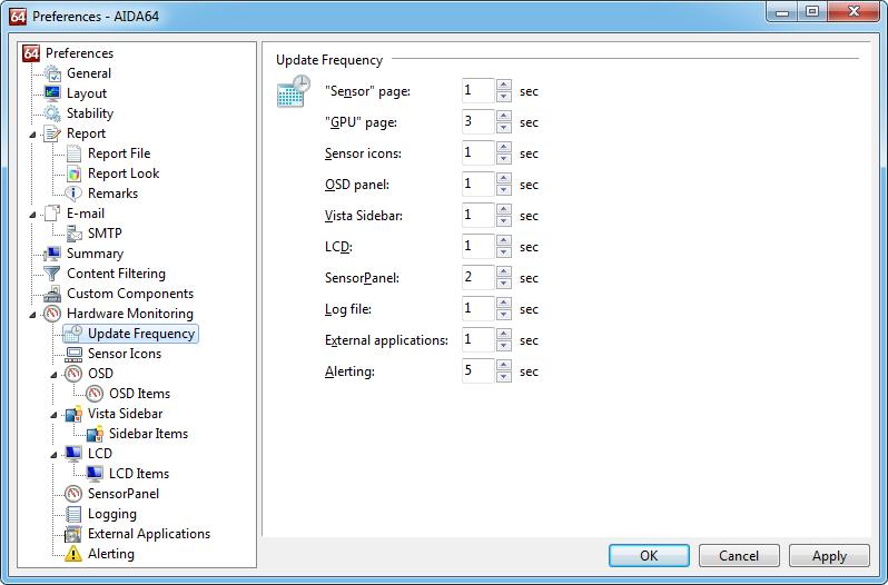 Aida64 preferences hwmupdatefreq Update Frequency