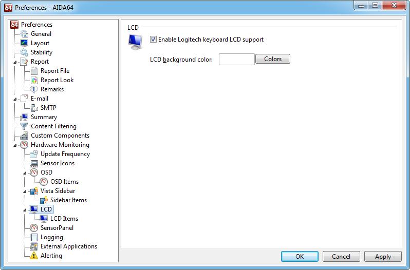 Aida64 preferences lcd LCD