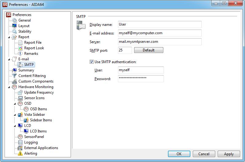 Aida64 preferences smtp SMTP