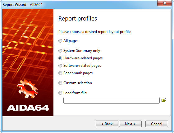 Aida64 reportwizard page2 Report profiles