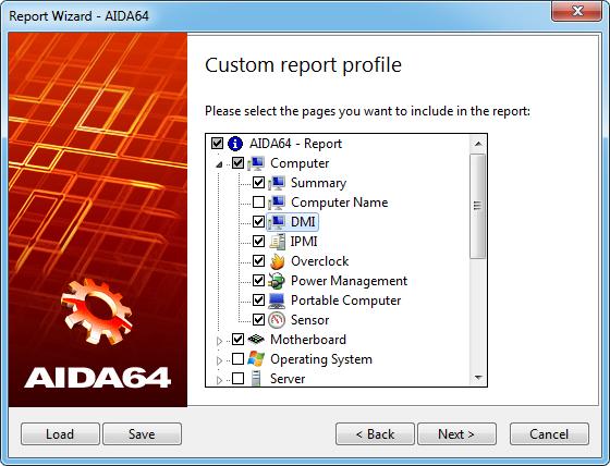 Aida64 reportwizard page3 Custom report profile