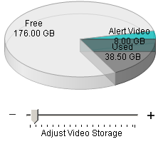 Alert Commander adjust video storage Anpassen der Größe des Videospeichers