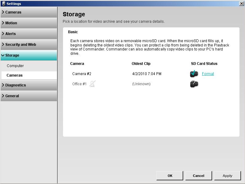 Alert Commander camera storage settings overview Übersicht über die Kameraspeicher Einstellungen
