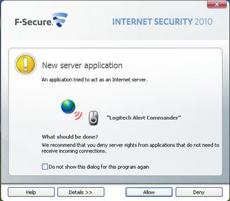 Alert Commander f secure allow 1 F Secure Internet Security 2010