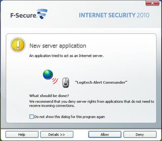 Alert Commander f secure allow 2 F Secure Internet Security 2010