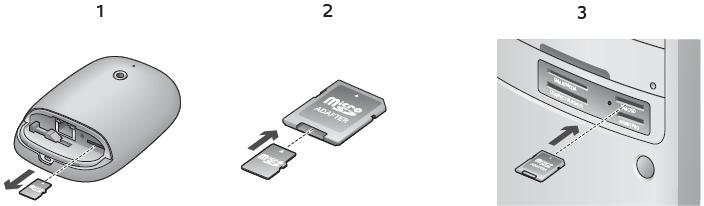Alert Commander inserting microsd card into pc Einlegen der microSD Karte in den PC
