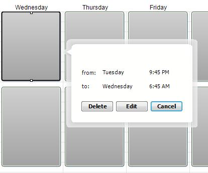 Alert Commander schedule details Bearbeiten eines vordefinierten Zeitplans