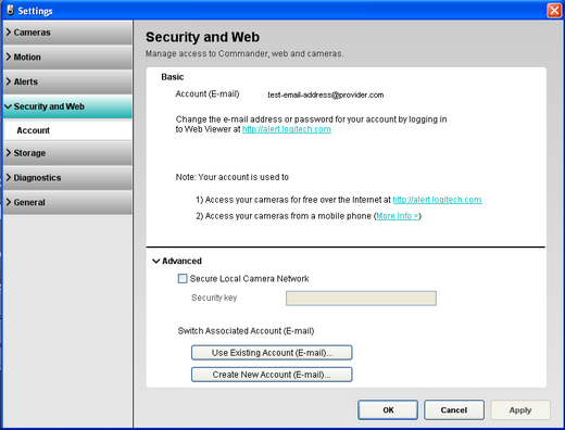 Alert Commander security and web settings Übersicht über die Einstellungen für Sicherheit und Internet