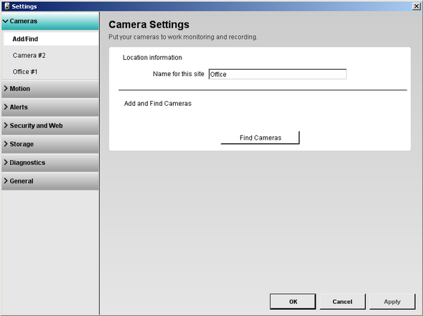 Alert Commander settings camera add find screen Übersicht über die Seite zum Hinzufügen/Suchen von Kameras
