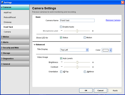 Alert Commander camera settings 700i Camera settings overview