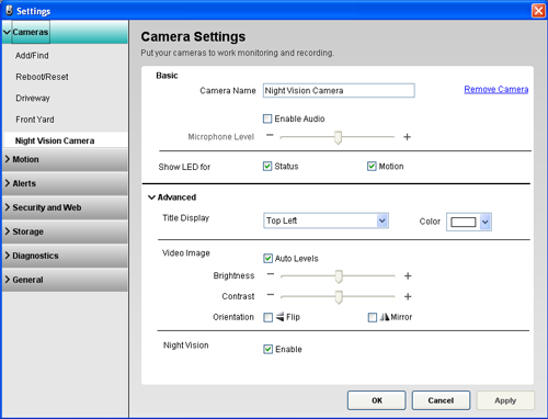 Alert Commander camera settings 700n camera Camera settings overview