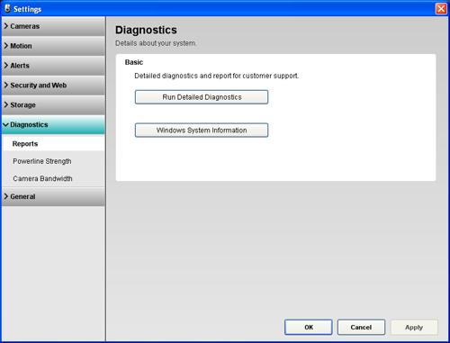 Alert Commander diagnostics reports screen Diagnostic settings overview