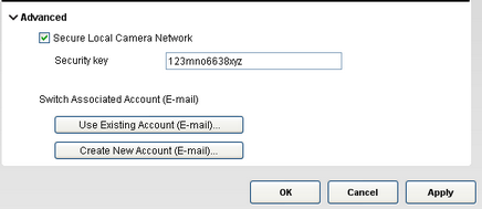 Alert Commander security key screen Securing the local camera network