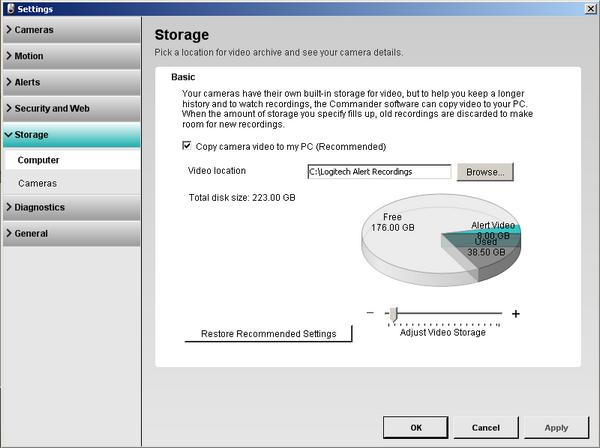 Alert Commander settings storage computer screen Storage settings overview