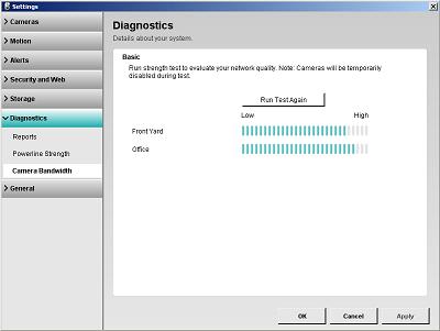 Alert Commander diagnostics camera bandwidth small Probar ancho de banda de la cámara