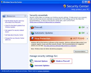 Alert Commander microsoft security alarm Firewall de Microsoft