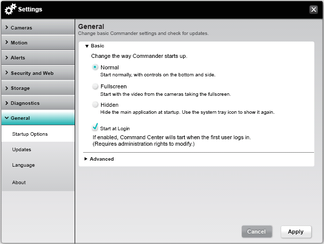 Alert Commander startup options Opciones de inicio