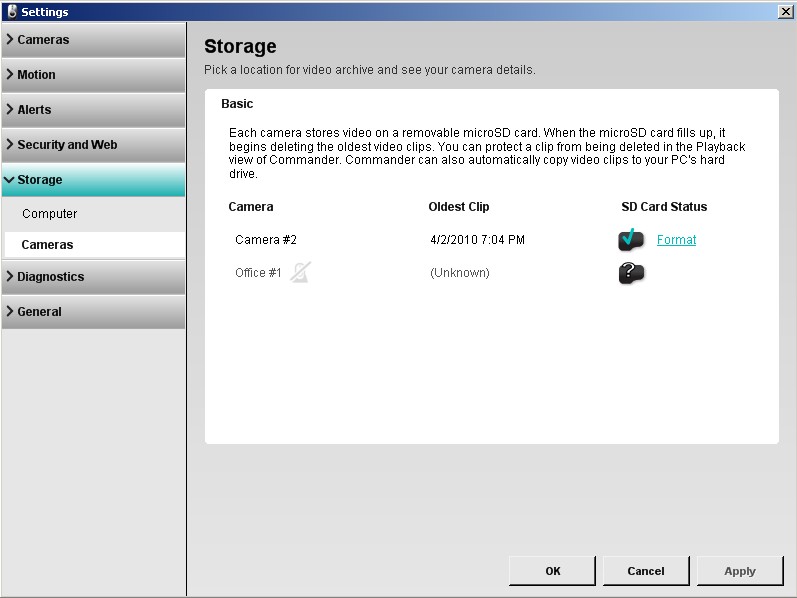 Alert Commander camera storage settings overview Présentation des paramètres de stockage des caméras