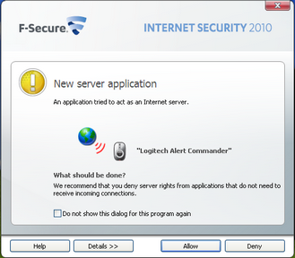 Alert Commander f secure allow 2 F Secure Internet Security 2010