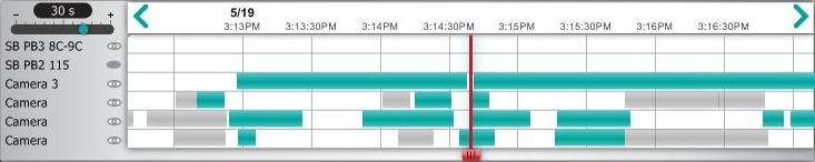 Alert Commander playback timeline window Sélection des caméras à visualiser