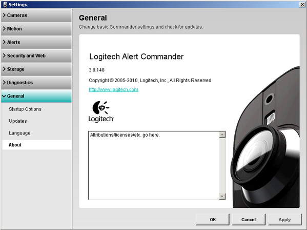 Alert Commander settings general about screen A propos de