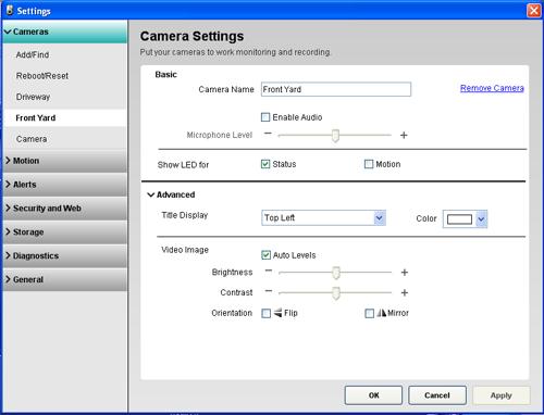 Alert Commander camera settings 700i Panoramica delle impostazioni della telecamera