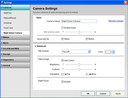 Alert Commander camera settings 700n camera Panoramica delle impostazioni della telecamera