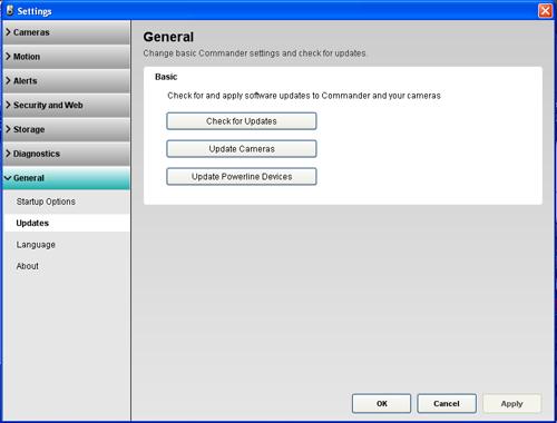 Alert Commander general updates update powerline devices Panoramica delle impostazioni di aggiornamento