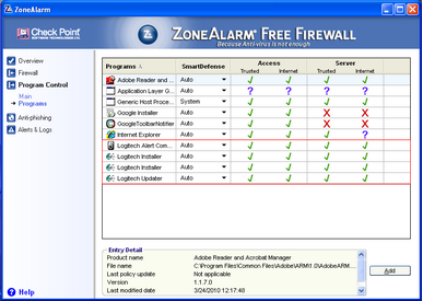 Alert Commander zone alarm free 4 ZoneAlarm Free