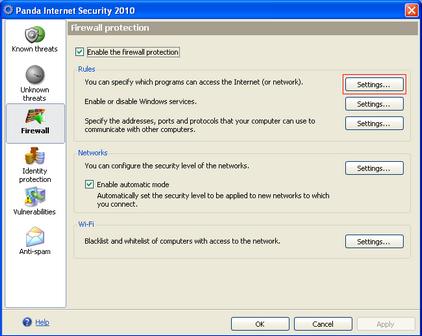 Alert Commander firewall protection screen 1 Panda Internet Security 2010