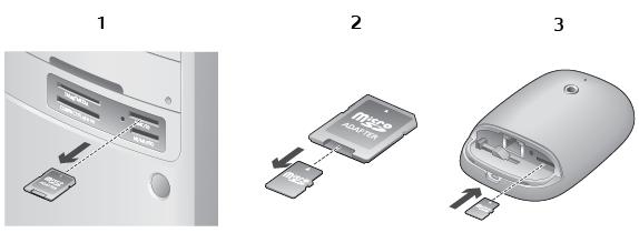 Alert Commander inserting microsd De microSD kaart in de camera plaatsen