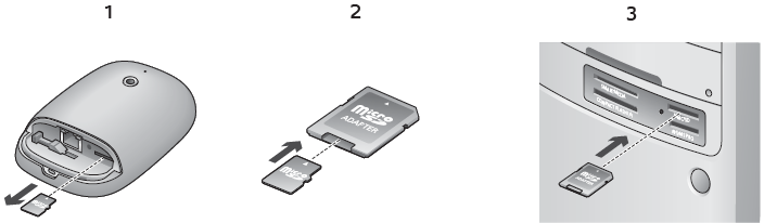 Alert Commander inserting microsd card into pc De microSD kaart in de pc plaatsen