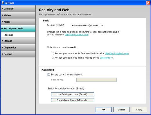 Alert Commander security and web settings Overzicht van beveiligings  en webinstellingen