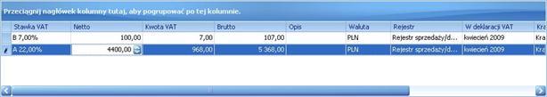 ALTUM image1021 Dodawanie elementu faktury VAT ręcznie