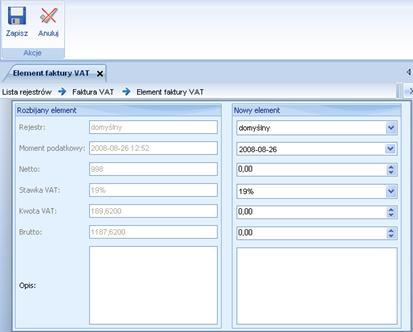 ALTUM image1030 Rozbijanie elementów faktury VAT