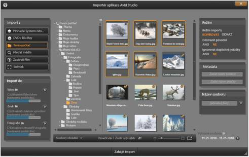 Avid Studio image001 Výběr souborů pro import