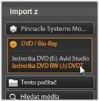 Avid Studio image001 Import z disků DVD nebo Blu ray